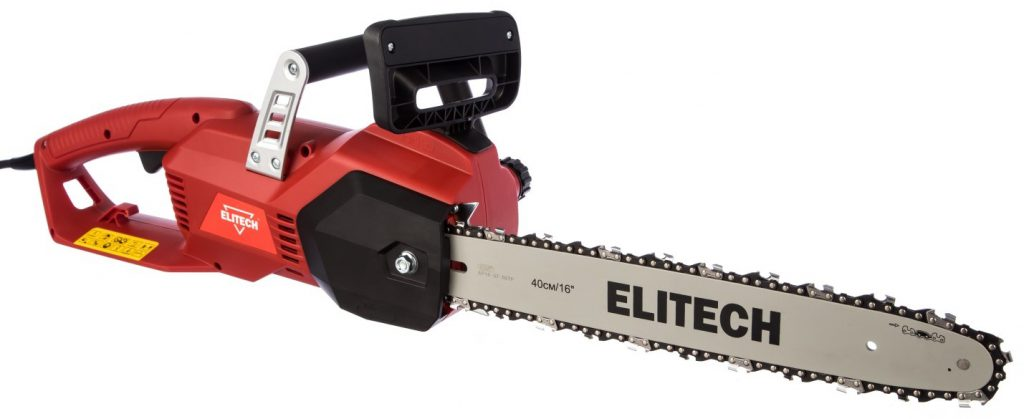 Недорогая цепная электропила с продольным расположением двигателя Elitech ЭП 2200/16