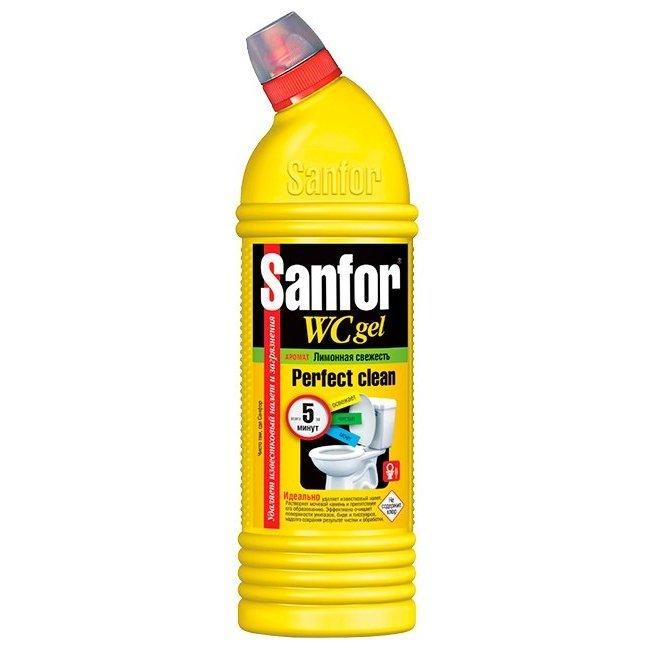 Средство для чистки унитазов от ржавчины и известкового налета Sanfor гель для унитаза Свежесть лимона