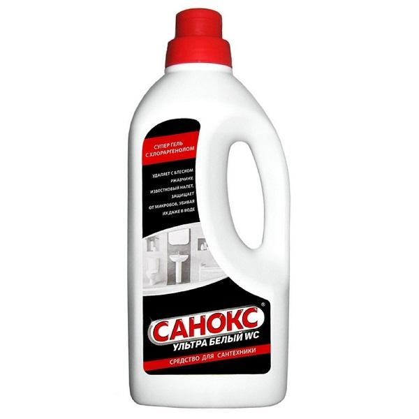 Средство для чистки унитазов от ржавчины и известкового налета САНОКС - гель для сантехники ультра белый