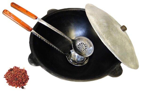 Казан Узбекский чугунный 12 литров (плоское дно) с алюминиевой крышкой, с шумовкой, половником и специями