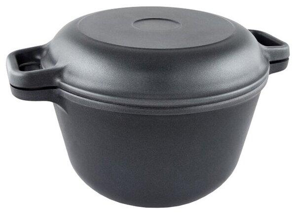 НЕВА МЕТАЛЛ ПОСУДА 6850 с крышкой-сковородой, черный, 5 л